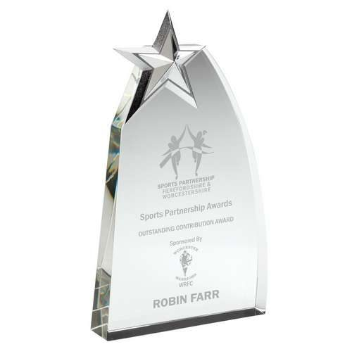 clear glass wedge with detailed metal star award