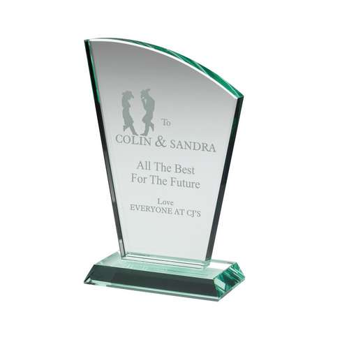 Jade Glass Sail Netball Plaque 15mm Thick