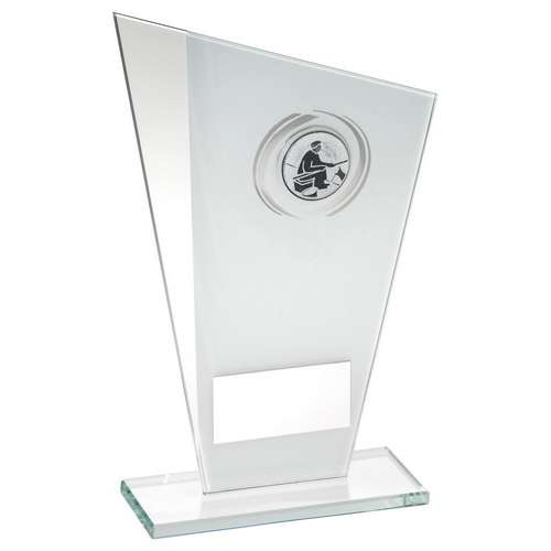 WHITE & SILVER GLASS ANGLING/FISHING TROPHY with mirrored side and fishing centre