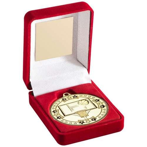 red velvet box and 50mm basketball medal