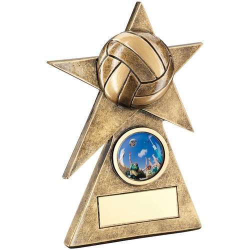 Brz/Gold Netball Star On Pyramid Base Trophy