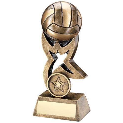Brz/Gold Netball on Star Trophy Riser Trophy