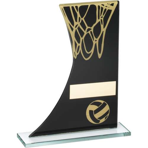 Black/Gold Printed Glass Plaque with Netball and Net Trophy