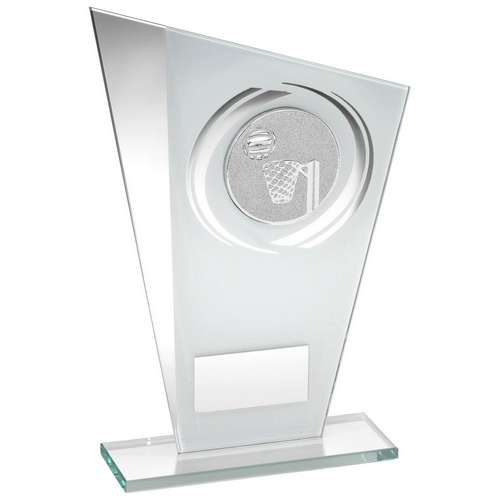 White/Silver Printed Glass Plaque with Netball Insert Trophy