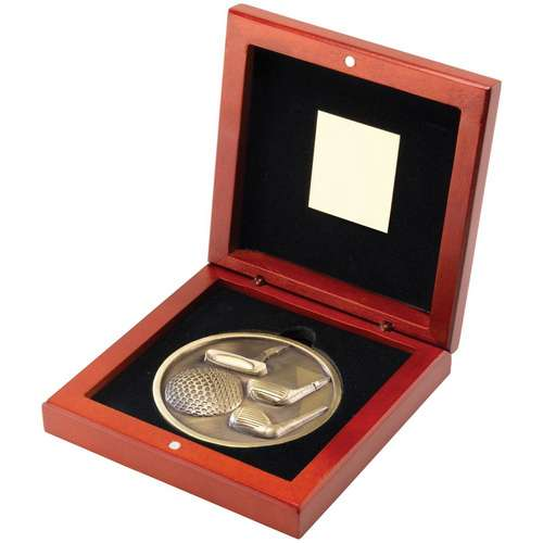 70mm golf medallion in rosewood box
