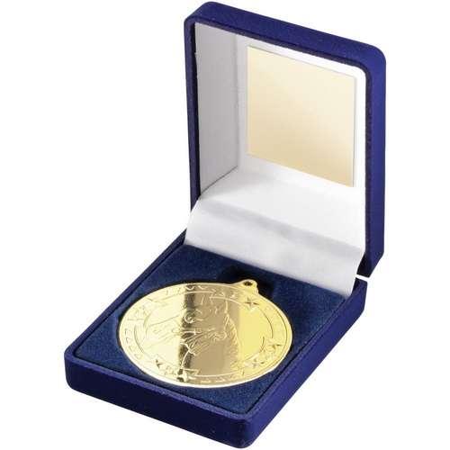 50mm horse medal in a blue velvet box
