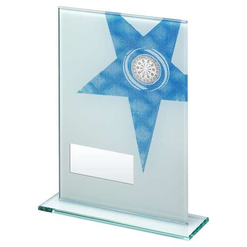 Glass Darts Trophy with white and blue star