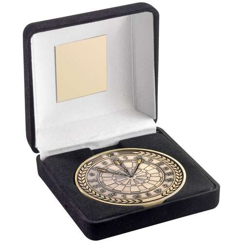 Boxed Darts Medal - Heavy Antique Gold