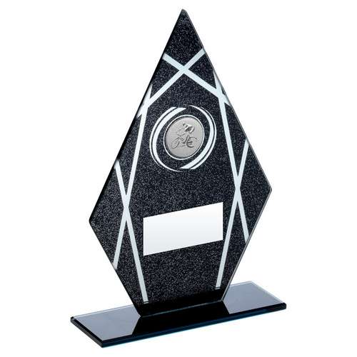 cycling black/silver printed glass trophy