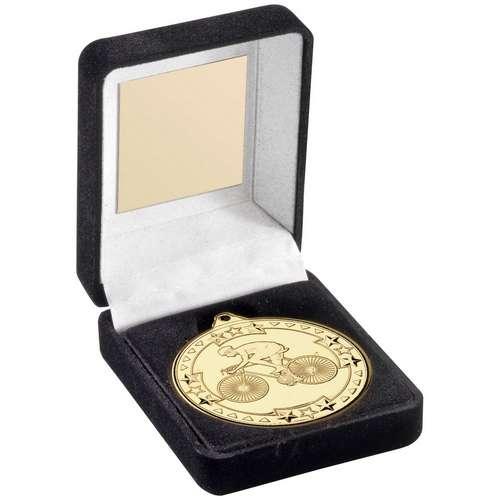 50mm Cycling Medal in Black Velvet Box