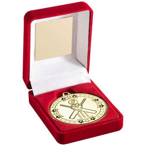 50mm cricket medal in red velvet box