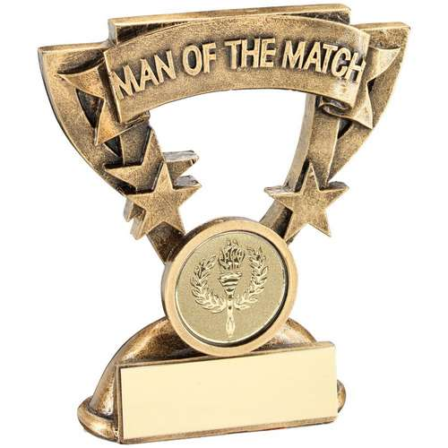 BRZ/GOLD MAN OF THE MATCH MINI CUP TROPHY