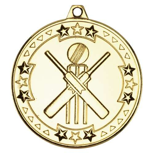 50mm cricket tri star medal