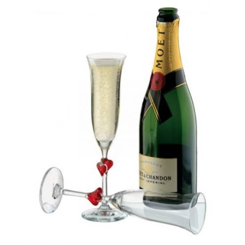 personalised engraved champagne heart flutes