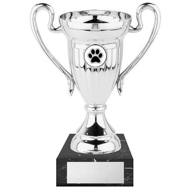 Paw Print Silver Dog Cup with Marble Base