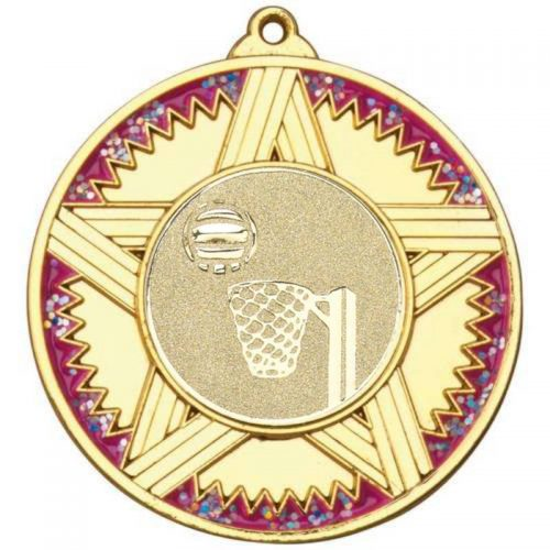 Striped Star Netball Medal with Pink Glitter