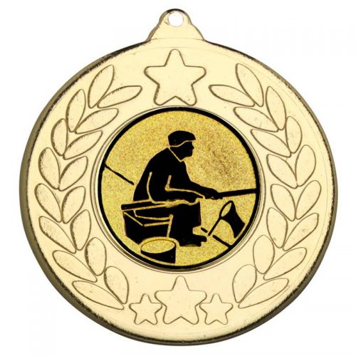Fishing man with rod star and wreath medal