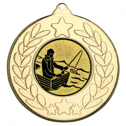 fishing man with rod on boat star wreath medal