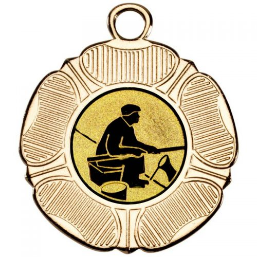 Fishing man with rod tudor rose medal
