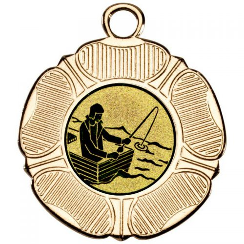 fishing man with rod on boat tudor rose medal