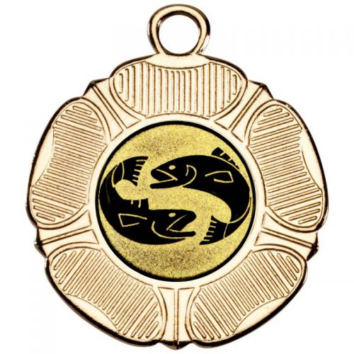 Two fish tudor rose medal