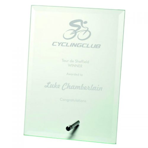 W20 - Rectangular Glass Cycling Trophy